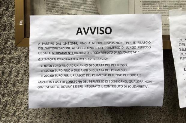 Tassa sul permesso. Per la Questura di Milano è un \